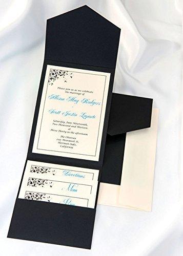 All-in-One Pocket Invitation Kit - Black Elegance - Pack of 20