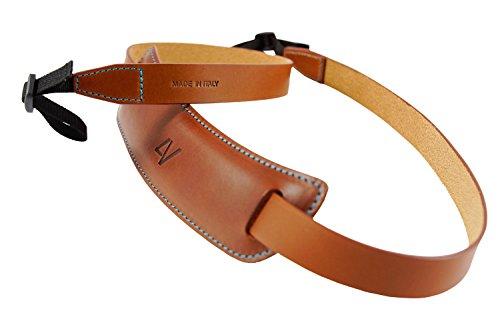 4V Design Classic Large - Correa para cámara en Cuero, Kit Enganche Universal, Color marrón y Cian