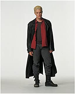 James Marsters 8 x 10 Photo Buffy The Vampire Slayer White Background All Grey Red Shirt Long Black Leather Jacket kn