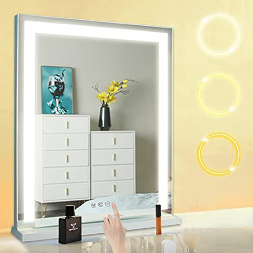 Espejo de maquillaje con luz LED, 62 cm x 50 cm, iluminado con interruptor de luz táctil, 3 modos de iluminación (blanco cálido/frío/neutro) para salón de belleza, salón
