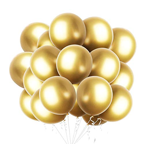 50 Piezas Globos metálicos de Dorado para fiesta Globos de látex Dorado brillante para cumpleaños boda compromiso aniversario baby shower festival picnic graduación o cualquier decoración de fiesta
