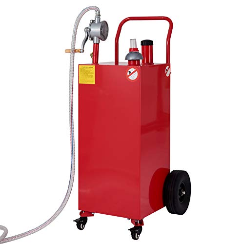 CO-Z Gas Tank with Pump, 30 Gallon Gas Caddy Portable Fuel Transfer Tank, Gasoline Container on Casters & Wheels, Heavy-Duty Gasoline Diesel Fuel Storage Container for Cars, Lawn Mowers, ATVs, Boats