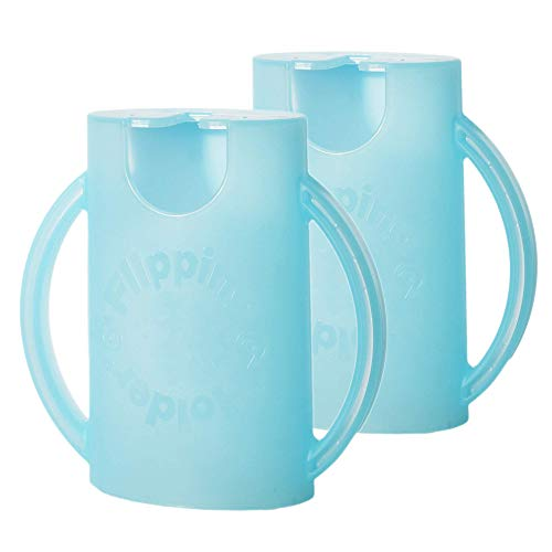 Flipping Holder 2-Pack, Multipurpose Squeeze-Proof Food Pouch Holder and Juice Box Holder (Aqua Blue x2)
