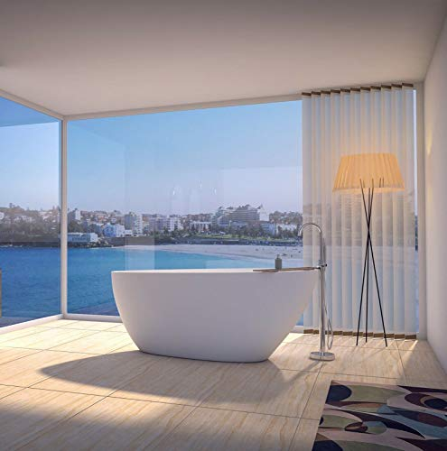 Freistehende Badewanne | Standbadewanne | Gussmarmor/Mineralguss/NORWAYstone | CALA I | Matt Weiß | 1570 x 680 x 630 mm (CALA I)