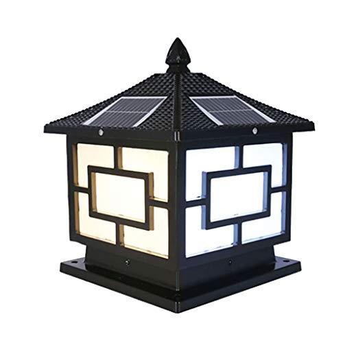 Wubing Tor-Säulenlampe Solar-Säulenlampe Villa Wanddekoration Lampe Wandlampe Postlampe wasserdichte Gartenlampe Außentür Säulenlampe Gartenbeleuchtung (Color : Black, Size : 30 * 27 * 36CM)