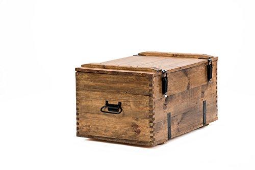 Coffre de Voyage en bois ancien Table Basse de Campagne hauteur 45 cm, profondeur 50 cm, largeur 80 cm …