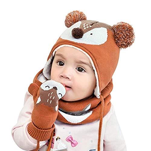 HSXQQL schattige caps sjaal handschoen set lente winter kinderen pasgeboren caps sjaal met handschoen kinderen gebreide warme caps 1-6 jaar oud