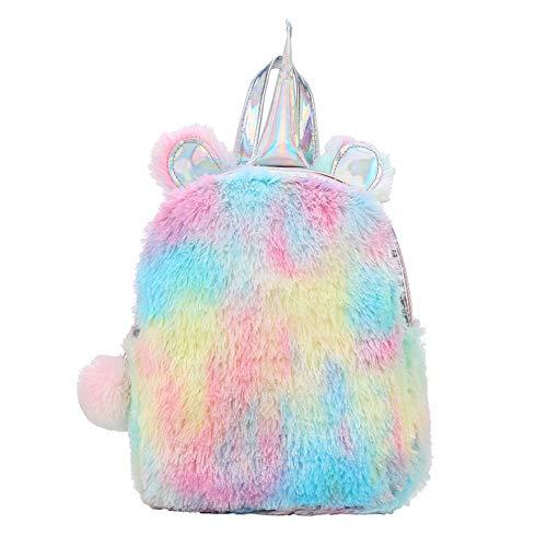 XYDZ Cute Plush Unicorn Backpack,3D Unicorn Backpack,Fluffy Mini Unicorn Backpack Bags for Girls Kids Travel Plush Rainbow Schoolbag