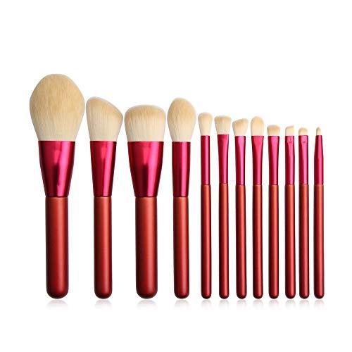 Mosumi Juego de brochas de maquillaje profesional, variedad, fácil de llevar a la moda y hermosa, crea un más hermoso que 12 paquetes (rojo)