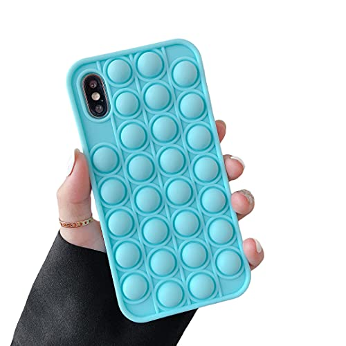 """Cocomii Push Pop Fidget Toy iPhone Xs Max Case, Slim Matte Soft TPU Silicone Rubber Push Pop Bubble Fidget Sensory Toy Anxiety Stress Fun Bumper Cover Compatible with Apple iPhone Xs Max 6.5"""" (Blue)"""