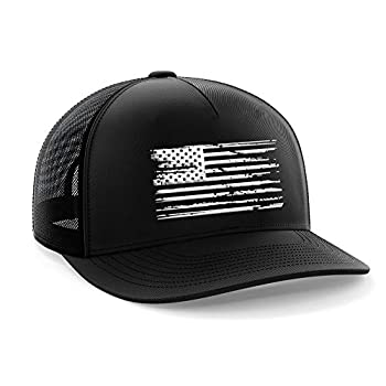 Tactical Pro Supply American Flag Snapback Hat - Embossed Logo American Cap for Men Women Sports Outdoor - Black White Flag