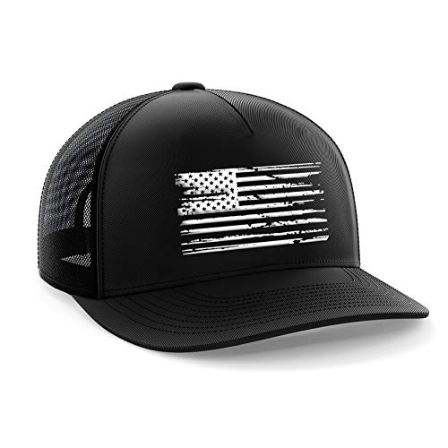 Tactical Pro Supply American Flag Snapback Hat - Embossed Logo American Cap for Men Women Sports Outdoor - Black (White Flag)