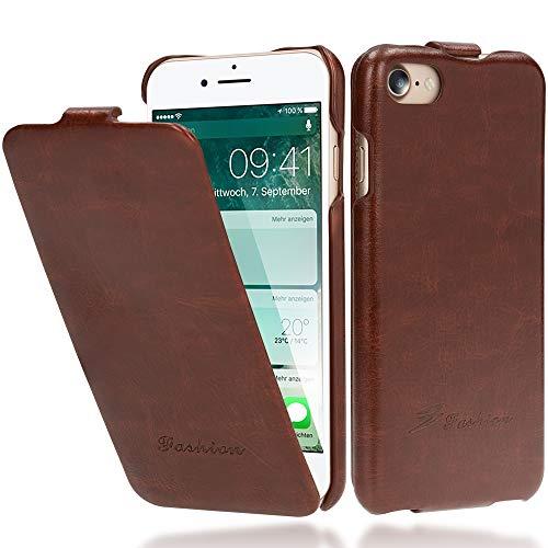 NALIA Flip Cover compatibile con iPhone SE 2020/8 / 7, Sottile Verticale Custodia Case Protettiva Ecopelle Vegan, Similpelle Protezione Telefono Cellulare Slim Full-body Bumper, Colore:Marrone