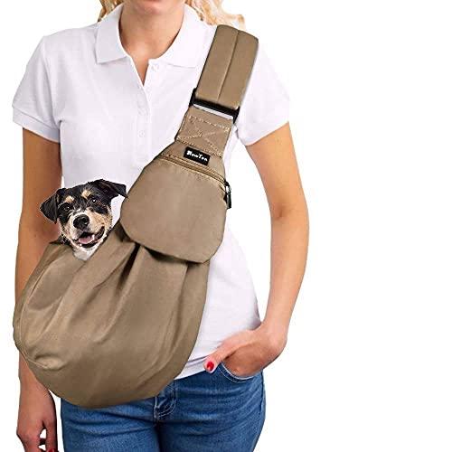 SlowTon Tragetuch Hund, Haustier Hand Schleuderträger Schultertasche Verstellbare Gepolsterte Schultergurt mit Fronttasche hundetragebeutel Metro Outdoor