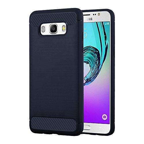 Cadorabo Funda para Samsung Galaxy J5 2016 (6) Funda de Silicona TPU Acero Carbon en Brushed Azul – Cubierta Protectora Super Delgada e Flexible con Antichoque – Gel Ligera