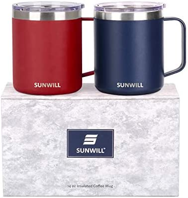 SUNWILL 14 oz Coffee Mug Set Vacuum Insulated Camping Mug with Lid Double Wall Stainless Steel product image
