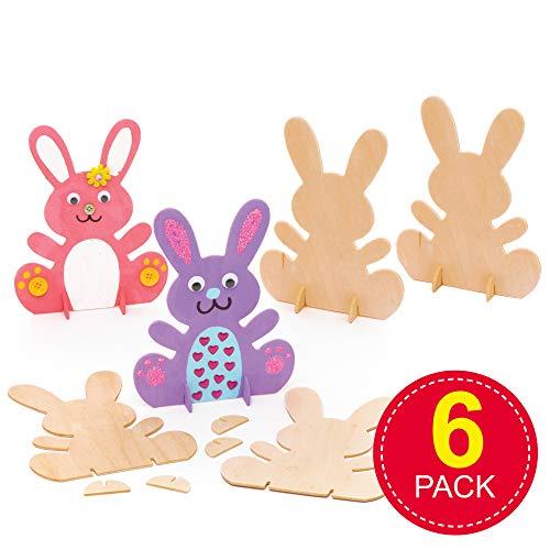 Baker Ross Hasen aus Holz zum Aufstellen (6 Stück) – für Kinder zum Basteln und Dekorieren