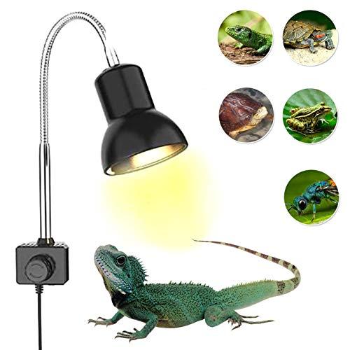AKlamater Turtle Heat Lampe, 360° Drehung, verstellbare Heizlampe, mit 2 Leuchtmitteln für Schildkröten, Gecko, Reptilien, Schildkrötentank (UE)