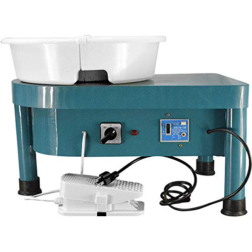 Khinya Pottery Wheel Pottery Forming Machine 25CM 350W Electric Pottery Wheel with Foot Pedal DIY Clay Tool Ceramic Machine Work Clay Art Craft Blue