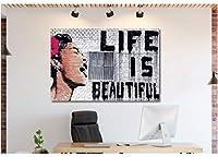 Banksy Art キャンバス ウォールアート ホームデコ プレストレッチキャンバス 18in x 24in FRAMED 301636585214