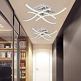 Lámpara de techo LED, 24 W de diseño curvo moderno, 4 placas LED integradas, accesorio de iluminación de techo de metal para sala de estar, dormitorio, pasillo, oficina 85 V-265 V, luz cálida