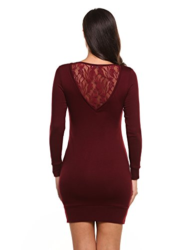 Parabler Damem Strickkleid Winter Etuikleid Pullover Kleid Langarm Casual Bodyconkleid Spitzen Freizeitkleid HerbstWeinrot XL