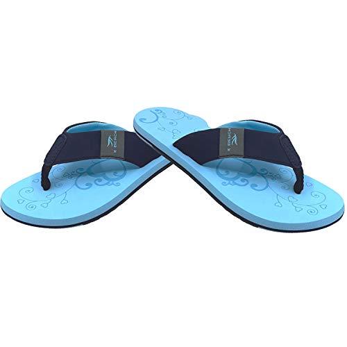 Flip-On Damen Zehentrenner | Flip Flops | Badelatschen | Strandschuhe | Duschlatschen | Zehenstegpantolette | Freizeit | Bad | Sauna Schuhe | Sandalen | ZT2, Größe:39 / UK 5.5, | :Türkis - Blau