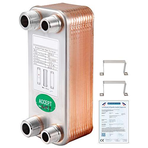 VEVOR Intercambiador de Calor de 20 Placas para Calefacción Adecuado para La Industria HVAC Industria Láctea/Alimentos/Bebidas, Industria de Refrigeración, Etc (7.5 * 3-20-1/2