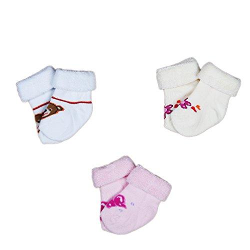 Babysocken Thermosocken Söckchen Frottee 3-er Set creme weiß rosa mit Motiv Gr. 9-11 Art. 113003 KNEES und TOES