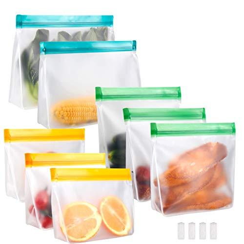 Meowoo Bolsas Silicona Reutilizables Bolsas Congelar Sándwich Frutas Comida Bolsas de Almacenamiento 8PCS Grande Bolsas de Comida Adecuado para Frutas Verduras Carne y Bebidas, Sin BPA