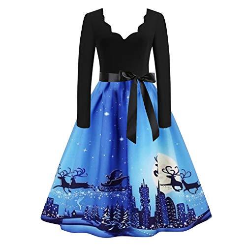 Lazzboy Kleid Frauen Langarm Weihnachten Vintage Flare Weihnachtskleid Damen Weihnachtspullover Weihnachtsdeko Kleider Weihnachtsmann Schlitten Druchen Party Swing(Blau,L)