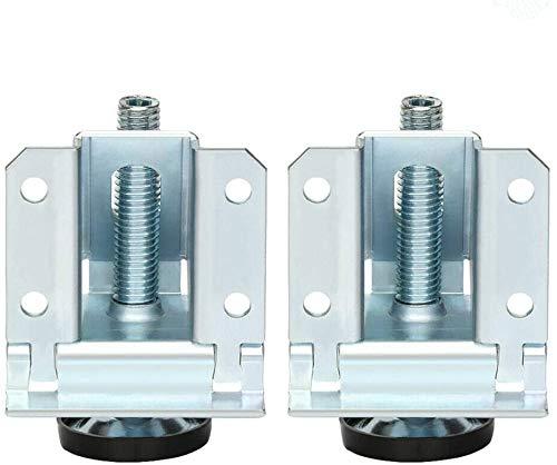 Bclaer72 Schwerlast-Nivellierfüße, 2 Stück Anti-Rutsch-Auflage Nivellierfüße Einstellbare Nivellierfüße für Tischbeine mit Kontermuttern für Schränke, Werkbänke und Regale