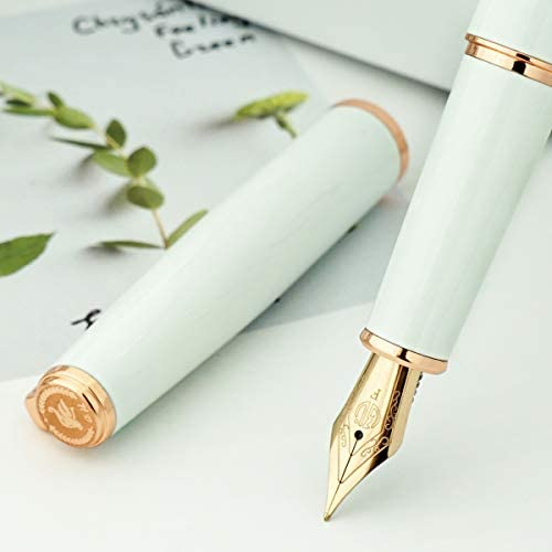 HongDian 920 White Metal Fountain Pen Rose Gold Plated Extra Fine Nib Smooth Writing Pen Classic product image