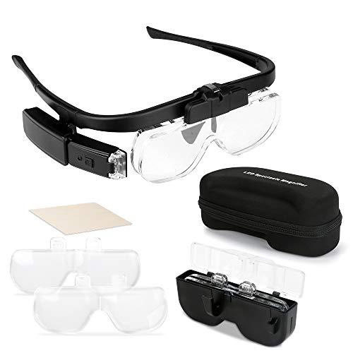 Maxjaa Lupenbrille mit Licht Hände Frei Lupe Leselupe mit 2 LED für Hobby,Denest,Elektriker,Juweliere,Nähen,Handwerk,und ältere Menschen - 3 Wechselobjektive (1.5X bis 4.5X)