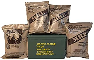 Ozark Outdoorz, LLC 4 Pack Military MRE (Meals-Ready-to-Eat) 2021 Inspection Date-Packed in Complementary USGI Grade 1 50 ...