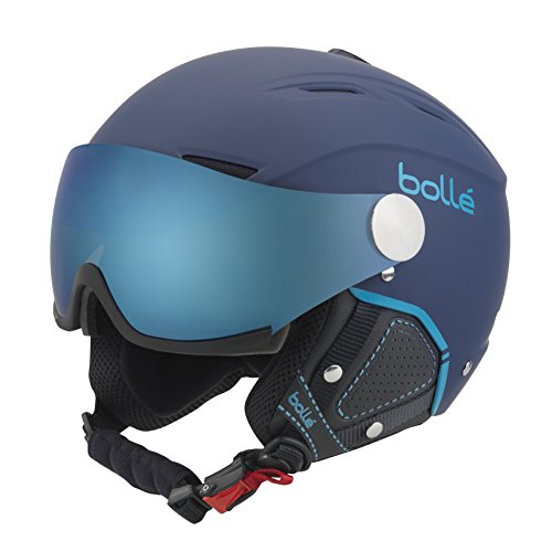 Bolle Backline Visor Premium with 1 Grey Blue & 1 Lemon Visor Ski Helmet, Soft Navy/Cyan, 54-56cm