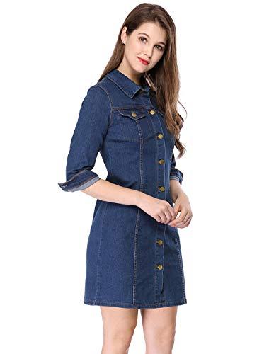 Allegra K Women's 3/4 Sleeve Button Down Denim Shirt Dress Small Blue