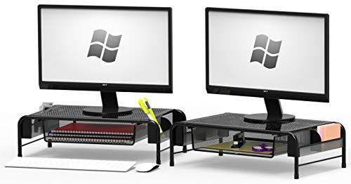 SimpleHouseware 2PK Metal Desk Monitor Stand Riser with Organizer Drawer, Black