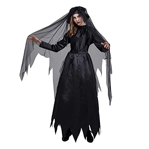 CPAI Disfraz Negro de Halloween para Mujer Zombie Ghost Bride Princess Vestido de Cosplay Horrify Party Carnival Masquerade Performance Disfraz de Lujo con Sombrero y Velo,Negro,M