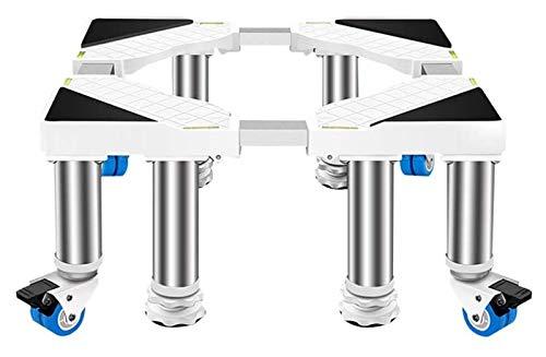 ASDFGH Base Ajustable móvil Multifuncional, Soporte de Aparato de Acero Inoxidable, 4 × 2 Ruedas giratorias de Bloqueo 4/8 Piernas Lavadora Secadora Soporte de refrigerador Soporte