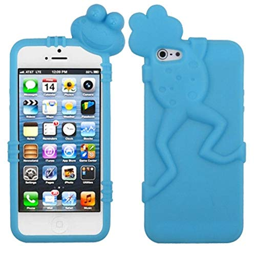 Insten 3D Frog Rubber Silicone Soft Skin Gel Case Cover Compatible with Apple iPhone 5/5S/SE, Blue