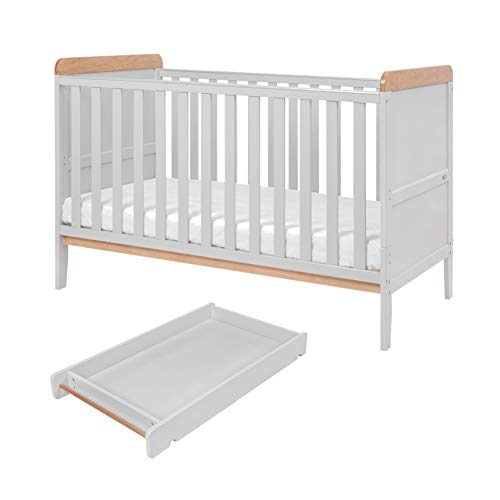 Rio Wooden Cot Bed & Cot Top Changer (Tutti Bambini) – 3 in 1 Convertible Baby Cot Bed, Toddler Bed and Matching Cot Top Baby Changer (Dove Grey & Oak)