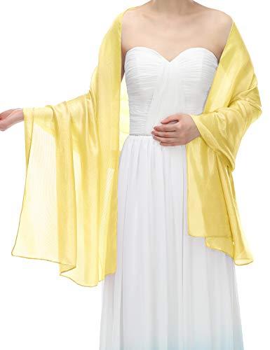Bbonlinedress Chiffon schals Stola Schal Tuch Stolen im Sommer für Kleider Abendkleid hochzeit Yellow