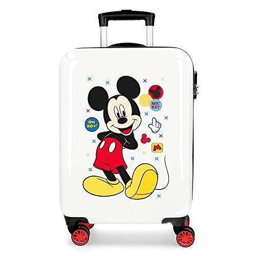 Disney Mickey Enjoy the Day Maleta de cabina Blanco 40x55x20 cms Rígida ABS Cierre de combinación lateral 34L 2,8 Kgs 4 Ruedas Dobles Equipaje de Mano