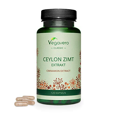 Ceylon Cinnamon Extract Vegavero | 2000 mg Pure Cinnamon Per Capsule (8:1 Extract) | 120 Capsules (4-Month Supply) | Without Additives | Lab-Tested | Vegan