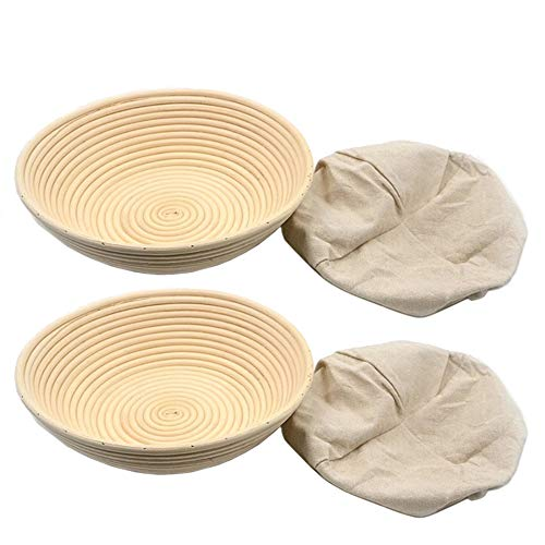 XDLEX Bread Proofing Baskets Set of 2 12 inch Round Shaped Dough Proofing Bowls w/Liners Perfect for Professional & Home Sourdough Bread Baking