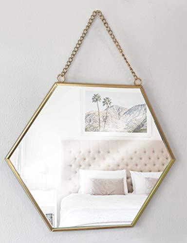 GreyZook Espejo de metal hexagonal con cadena estilo vintage