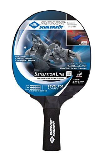 Donic-Schildkröt Tischtennisschläger Sensation Line 700, ASG-Griff, 1,8 mm Schwamm, Avantgarde - ITTF Belag, 734403, Schwarz