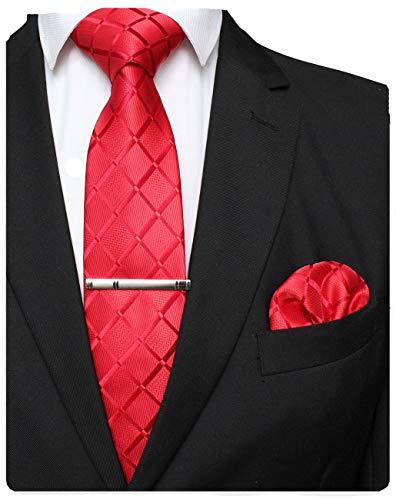 JEMYGINS Rot Seide Plaid Krawatte und Einstecktuch mit krawattenklammer Set für Herren Seidenkrawatten Hochzeit Schlips (3)
