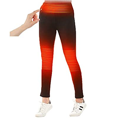 Womens Winter Heated Pants with Elastic Waistband for Skiing Fishing Hiking Gift (Battery NOT Included) Black